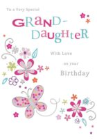 Granddaughter Butterfly Flower Birthday Card