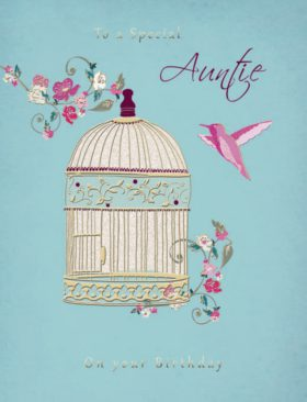 Auntie Hanging Bird Cage Birthday Card