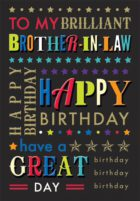Brother-In-Law Text Birthday Card
