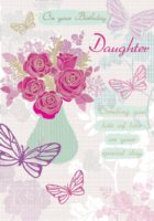 Daughter Vase With Flowers Birthday Card