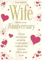 Wife Anniv Card Gold Text